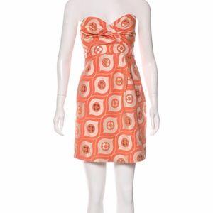 Tibi Metallic Jacquard Strapless Dress Orange Gold